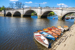 Richmond London by the Thames river. A popular area in London Richmond attacks many visitors and tourist because of its beautiful scenery and nature parks near royalty free stock photography