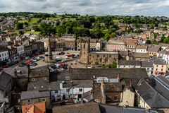 Richmond old town. A panoramic view of the old town of Richmond, North Yorkshire, England stock photography