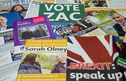 Richmond Park-door-verkiezingspamfletten Stock Afbeeldingen