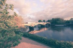 Richmond Railway Bridge, Thames River, Richmond, London, UK. Richmond Railway Bridge, Thames River, Richmond, London, United Kingdom stock image