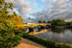 Richmond Railway Bridge, Thames River, Richmond, London, UK. Richmond Railway Bridge, Thames River, Richmond, London, United Kingdom royalty free stock image