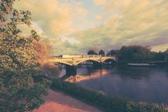 Richmond Railway Bridge, Thames River, Richmond, London, UK. Richmond Railway Bridge, Thames River, Richmond, London, United Kingdom stock photo