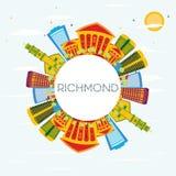 Richmond Skyline con le costruzioni di colore, il cielo blu e lo spazio della copia illustrazione vettoriale