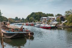 Richmond on Thames. A view of Richmond taken from the bridge to Eel Pie Island Royalty Free Stock Photos