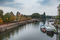 Richmond on Thames. A view of Richmond taken from the bridge to Eel Pie Island Royalty Free Stock Image