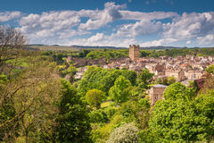 Richmond Town and Castle. The market town of Richmond is sited at the very edge of the North Yorkshire Dales, on the banks of River Swale Royalty Free Stock Images