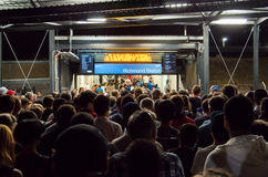 Richmond train station. Football fans entering Richmond train station in Melbourne, Australia, after the AFC Asian Cup football match between  Japan and Jordan Stock Images