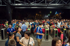 Richmond train station. Football fans entering Richmond train station in Melbourne, Australia, after the AFC Asian Cup football match between  Japan and Jordan Stock Photo