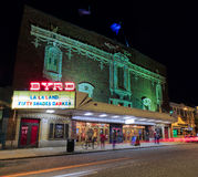 Richmond Va USA Byrd theater in Carytown in the evening. Historic theater that still shows movies. royalty free stock images
