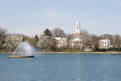Richmond Virginia Byrd Park and Swan Lake fountain. View across Swan Lake at Byrd park in Richmond Virginia royalty free stock photography