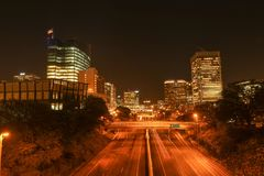 Richmond, Virginia at night looking downtown stock photography
