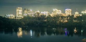 Richmond, Virginia, USA downtown skyline on the James River. stock images