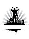 Richness 2. Victorious businessman on the city's edge (money rain Stock Photography