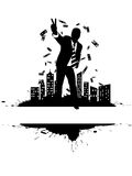 Richness 4. Victorious businessman on the city's edge (money rain Royalty Free Stock Photo