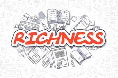 Richness - Doodle Red Text. Business Concept. Richness Doodle Illustration of Red Word and Stationery Surrounded by Cartoon Icons. Business Concept for Web Stock Photography