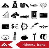 Richness and money theme black icons set eps10. Richness and money theme black icons set Royalty Free Stock Image