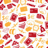 Richness and money theme color icons seamless pattern. Eps10 Royalty Free Stock Images