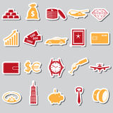 Richness and money theme color stickers set Stock Photo