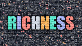 Richness in Multicolor. Doodle Design. Richness Concept. Richness Drawn on Dark Wall. Richness in Multicolor Doodle Design. Richness Concept. Modern Royalty Free Stock Photography