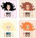 Richten Sie für Frauen mit einer anderen Haarfarbe her Stockfotografie