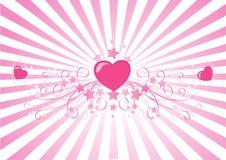 Richtende roze harten   Royalty-vrije Illustratie