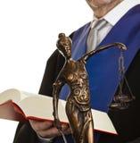 Richter mit Code und Gerechtigkeit Stockbilder