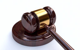 Richterhammer auf weißem Hintergrund Stockfotos