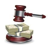 Richterhammer und -geld Stockbild