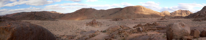 Richtersveld Kokerboomkloof Camp. Early morning panoramic view of Richtersveld Kokerboomkloof Camp Namibia Royalty Free Stock Images