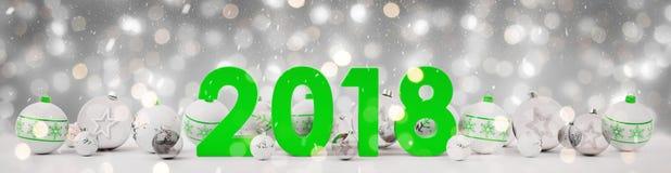 richtete des Sylvesterabends 2018 mit Weihnachtsflitter Wiedergabe 3D aus Stockfotos