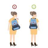 Richtige Position der Lage des Mädchenrucksacks gut für Rückenschmerzen Lizenzfreies Stockbild
