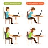 Richtige und falsche hintere Sitzposition am Arbeitsplatz Stockfoto