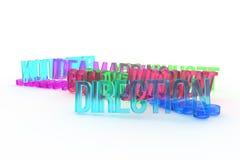 Richting, bedrijfs conceptuele kleurrijke 3D teruggegeven woorden Tekst, behang, typografie & CGI royalty-vrije illustratie