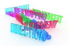 Richting, bedrijfs conceptuele kleurrijke 3D teruggegeven woorden Titel, bericht, alfabet & Web royalty-vrije illustratie