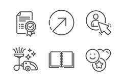 Richting, Certificaat en Boek geplaatste pictogrammen Gebruiker, stofzuiger en Glimlachtekens Vector royalty-vrije illustratie