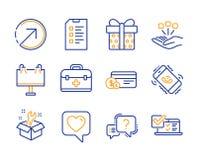 Richting, Consolidatie en Moersleutel geplaatste pictogrammen Controlelijst, Wegbanner en de tekens van de Giftdoos Vector stock illustratie