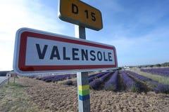 Richting Valensole, straatteken stock afbeelding