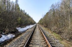 Richting van een enkelsporige spoorweg voor oude stoomtreinen of diesel treinen sporen en dwarsbalken in een mooi bos worden gele royalty-vrije stock foto's