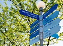 Richtingen bij de de Brugpromenade van Brooklyn Stock Afbeelding