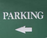 Richtung zum Parken Stockbild