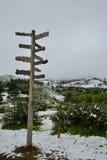 Richtungen für den Schnee stockbild