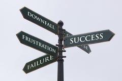 RichtungsVerkehrsschild für Erfolg Stockbild