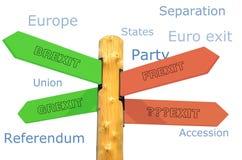 Richtungszeichen mit Ausdrücken Brexit, Grexit, Frexit Stockfoto