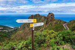 Richtungszeichen zu Taganana Teneriffa Stockfoto