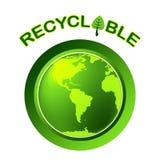 Riciclabile ricicli la terra di manifestazioni amichevole e bio- Fotografie Stock Libere da Diritti