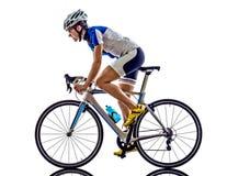 Riciclaggio del ciclista dell'atleta di ironman di triathlon della donna Fotografia Stock