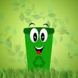 Riciclaggio del recipiente verde per ecologia Fotografia Stock