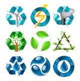 Riciclaggio dell'insieme di simboli Fotografia Stock