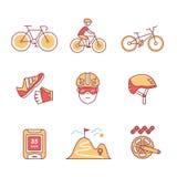 Riciclaggio della bici ed insieme del segno degli accessori di ciclismo Fotografia Stock