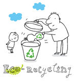 Riciclaggio di Eco, dissipante Immagini Stock